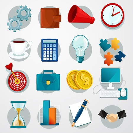 web icons set: Business flat icons set with gears wallet megaphone clock isolated vector illustration