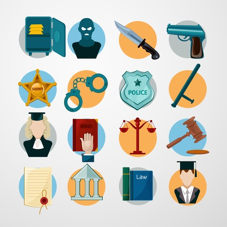 Law judgment and police icons flat set with safe criminal knife gun isolated vector illustration Vector
