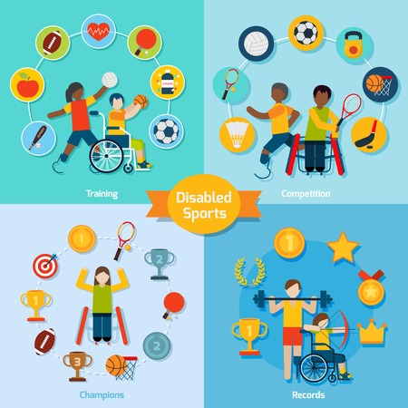 competition: Disabled sport design concept set with training competition champions record flat icons isolated vector illustration Illustration