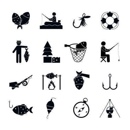 sinker: Fishing icon black set with boat bait sinker worms and fish isolated vector illustration Illustration