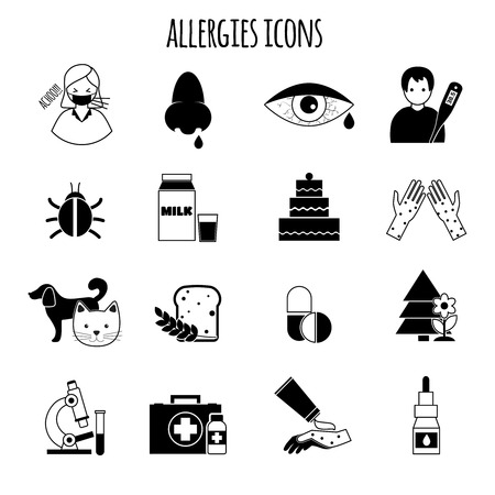 rhinitis: Allergies disease and medicine treatment health icons black vector illustration