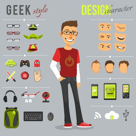 headphones: Geek style design character set with backpack computer keyboard web camera isolated vector illustration