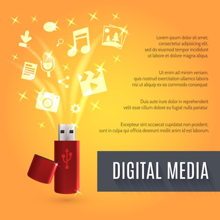 pocket pc: Digital media background with realistic usb flash drive vector illustration