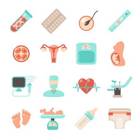 pregnancy belly: Pregnancy newborn icons set with parenthood women and child care isolated vector illustration Illustration