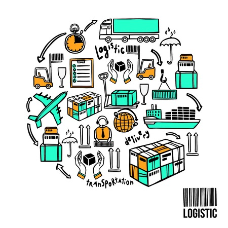 box weight: Logistic sketch concept with shipping icons and bar code vector illustration