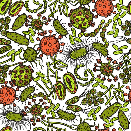 ameba: Bacteria micro organism and virus sketch seamless pattern vector illustration