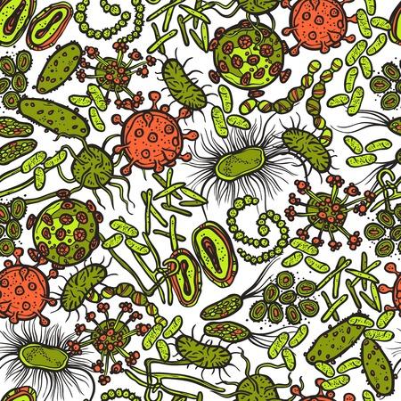 virus organism: Bacteria micro organism and virus sketch seamless pattern vector illustration