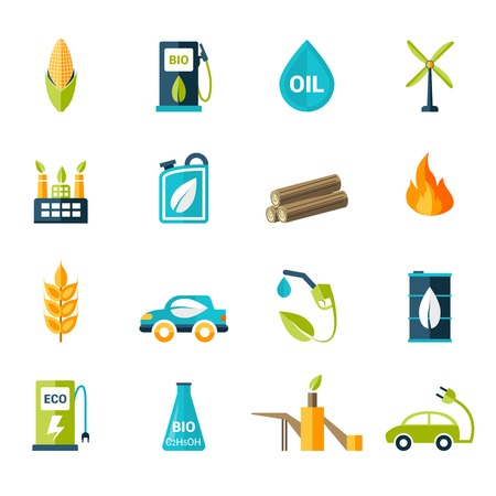 bio fuel: Bio fuel solar and wind electricity industry icons set isolated vector illustration Illustration