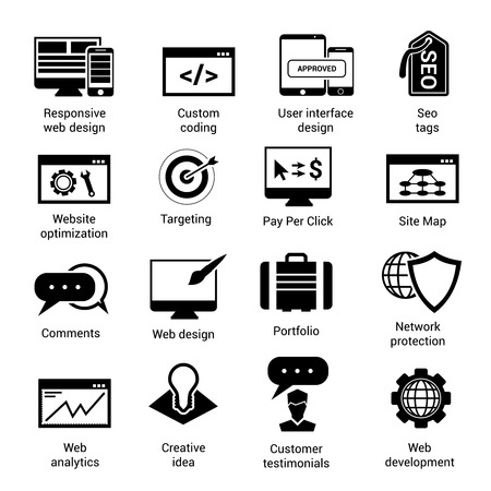 optimisation: Web development black icons set with website optimization targeting pay per click site map isolated vector illustration Illustration
