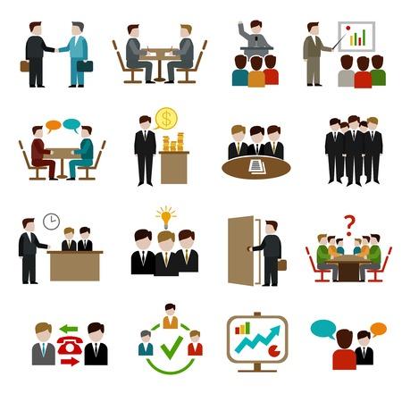 Ontmoeting pictogrammen die met geïsoleerde zakelijke teamwork corporate training en presentatie symbolen vector illustratie