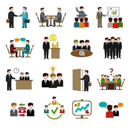 Meeting icons set with business teamwork corporate training and presentation symbols isolated vector illustration Illustration