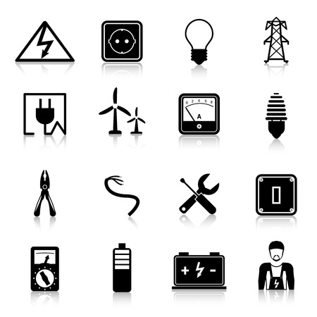 pylon: Electricity icons set with industrial power and energy equipment isolated vector illustration