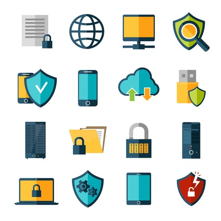 network security: Data protection database safe access online security icons set isolated vector illustration Illustration