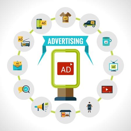 medios de comunicacion: Concepto de publicidad con la cartelera al aire libre con anuncios y de marketing iconos conjunto ilustraci�n vectorial
