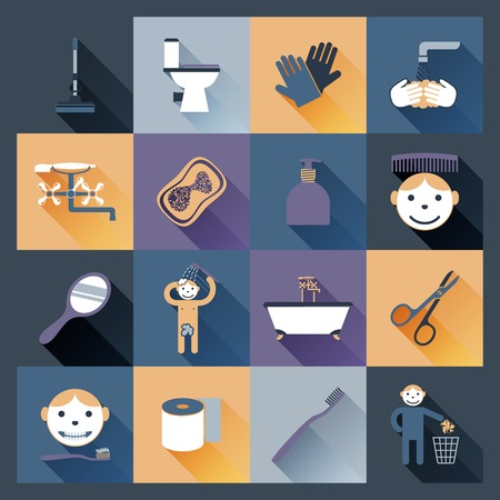 wash face: Hygiene icons flat set with body and face wash isolated vector illustration