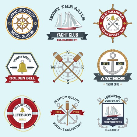 Nautical labels set with premium quality seafarer emblems isolated vector illustration Illustration