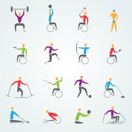 Gehandicaptensport pictogrammen die met geïsoleerd ongeldige atleten concurrentie symbolen vector illustratie
