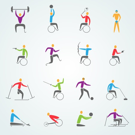 personas discapacitadas: Iconos de los deportes de movilidad establecidas con símbolos de competencia los atletas válidos ilustración vectorial aislado
