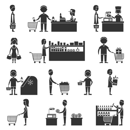 People in supermarket grocery store customers black icons set vector illustration