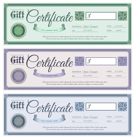 Gift promotion wedding certificates with filigree decor ornament set isolated vector illustration