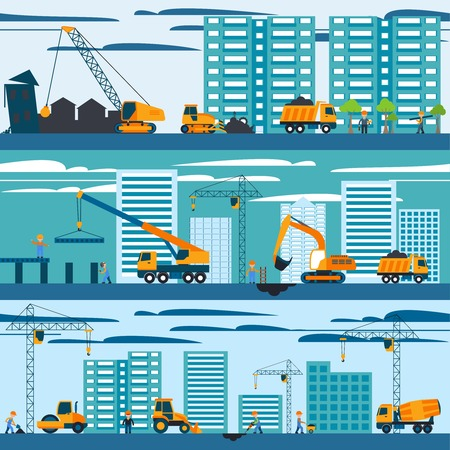 Construction and building concept with builders machines and skyscrapers vector illustration Ilustração