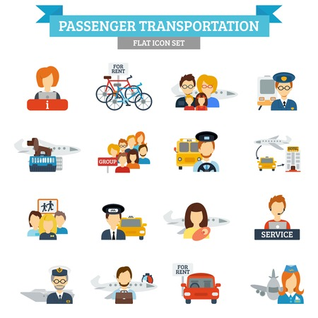 drivers: Passenger transportation icon flat set with transport drivers and passengers isolated vector illustration