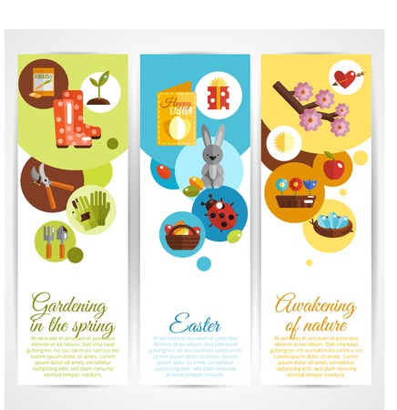ébredés: Tavaszi függőleges dekoratív bannerek készlet kertészeti húsvéti ébredő természet elemeinek elszigetelt vektoros illusztráció Illusztráció