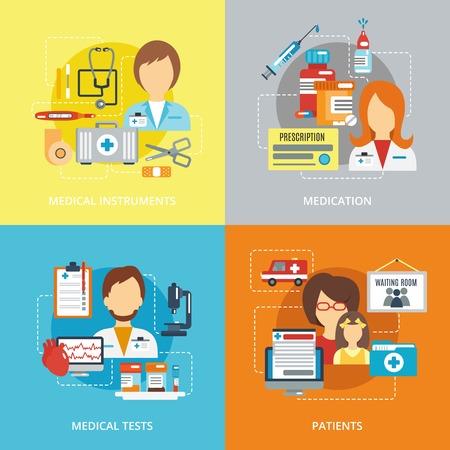 pacientes: Conceptos de diseño doctor establecidos con instrumentos médicos medicación probaron pacientes iconos planos ilustración vectorial aislado Vectores