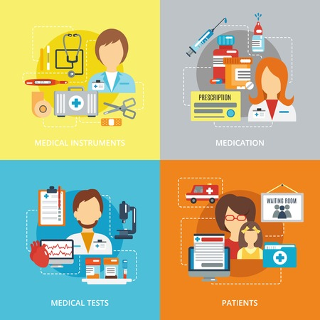Doctor design concepts set with medical instruments medication tested patients flat icons isolated vector illustration