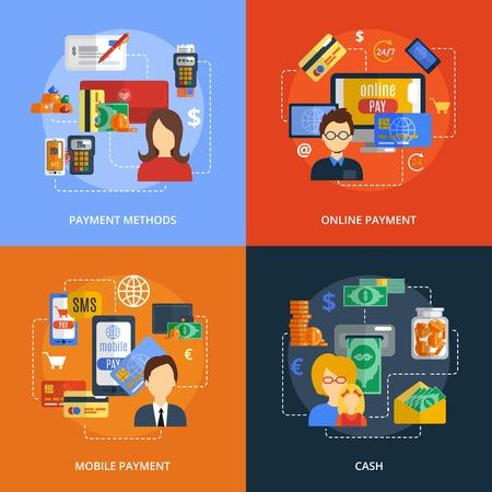 Payment Designkonzept mit Online-Handy Bargeld Methoden flachen Icons isoliert Vektor-Illustration gesetzt