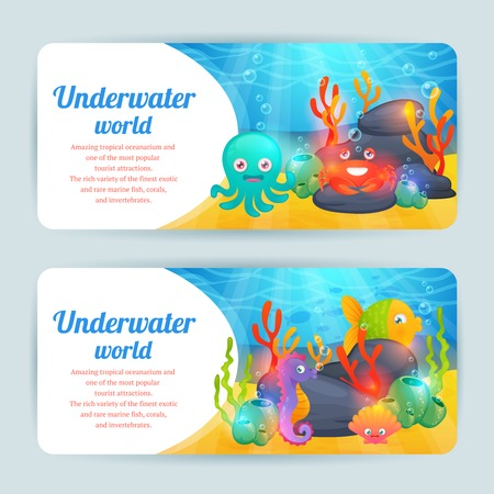 oceanarium: Underwater tropical exotic sea animals horizontal banners set with crab corals and octopus abstract isolated vector illustration Illustration