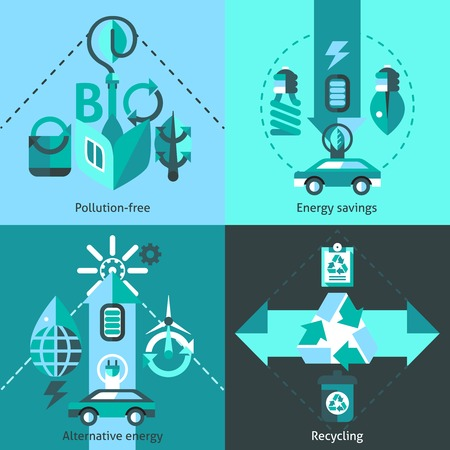 pollution free: Ecology flat icons set with pollution free alternative energy savings recycling isolated vector illustration