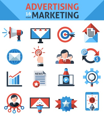 Advertising marketing icons set with announcement selling campaign elements isolated vector illustration Vector
