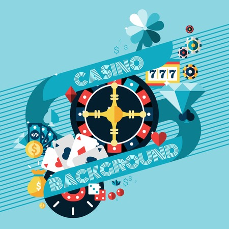 Casino gambling game of fortune background with roulette wheel and chips vector illustration Illustration