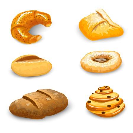 bagel: Bakkerij brood en gebak set met donut chocolade bagel en croissant geïsoleerd vector illustratie