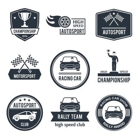 Auto sport black label set met geïsoleerde kampioenschap motorsport racewagen emblemen vector illustratie