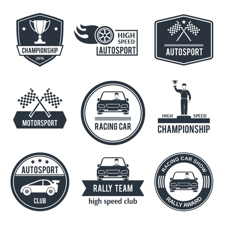 Auto sport black label set with championship motorsport racing car emblems isolated vector illustration