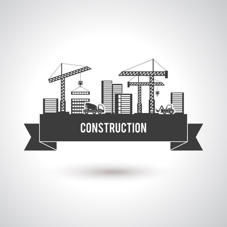 Building construction poster with cranes trucks and skyscrapers vector illustration Illustration