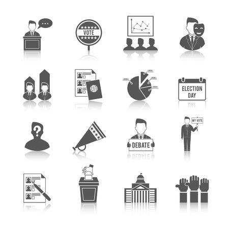 Verkiezing overheid politiek democratisch stemproces icon set geïsoleerde vector illustratie