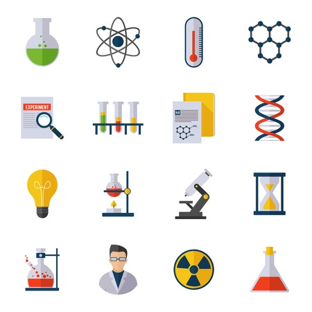 Chemistry icon flat set with scientist atom molecule dna isolated vector illustration