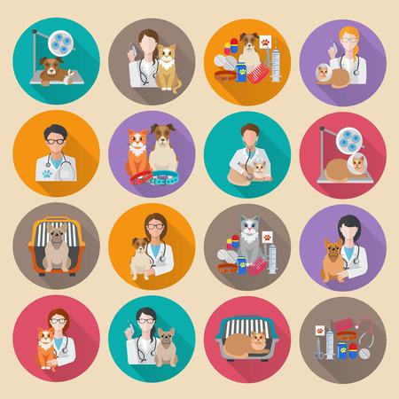veterinario: Conjunto de iconos plana Veterinaria con cl�nica veterinaria transporte de mascotas y m�dico aislado ilustraci�n vectorial Vectores
