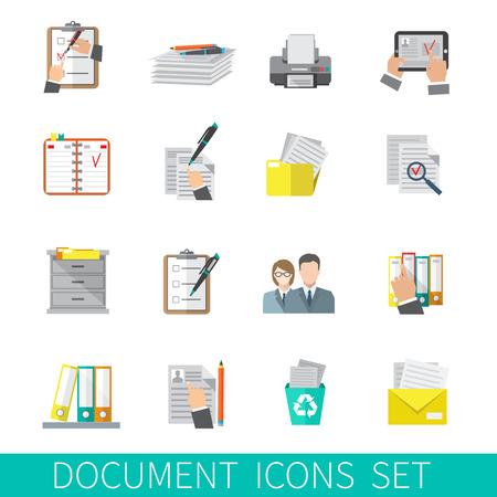 gestion documental: Documentación carpeta de papel Documento organizar conjunto de iconos plana aislado ilustración vectorial