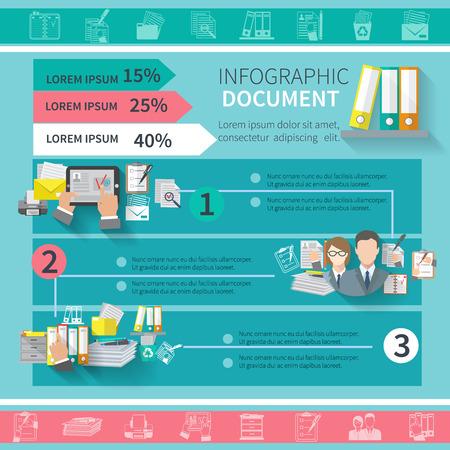 Infografía de documento conjunto con equipos de oficina contrato organizar elementos y gráficos ilustración vectorial Vectores