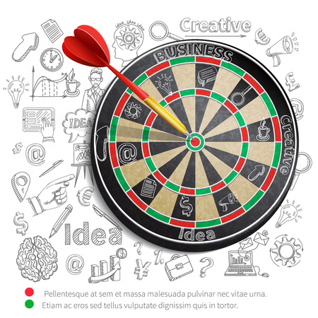 Creative poster with dartboard and idea imagination and creativity symbols on background vector illustration