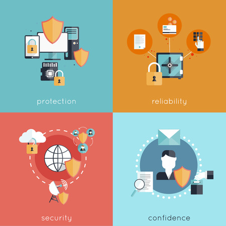 Concepto de diseño de seguridad de la información de conjunto con la seguridad fiabilidad protección y la confianza de iconos planos aislados ilustración vectorial