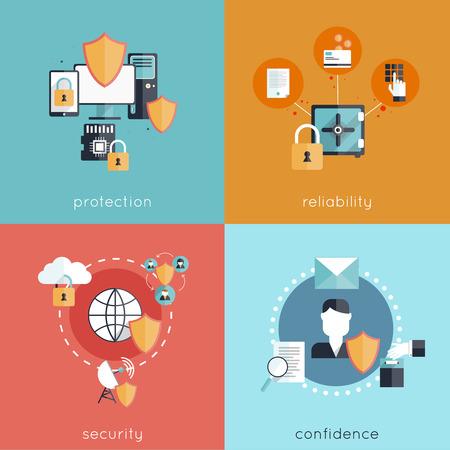 Concetto di design di sicurezza Informazioni fissato con la sicurezza affidabilità protezione e fiducia icone piane illustrazione vettoriale isolato