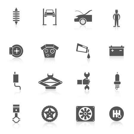 tire change: Auto service black icon set with automobile battery car parts transport service symbols isolated vector illustration