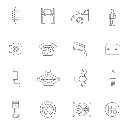 brakes: Auto service outline icon set with vehicle parts brakes and service isolated vector illustration