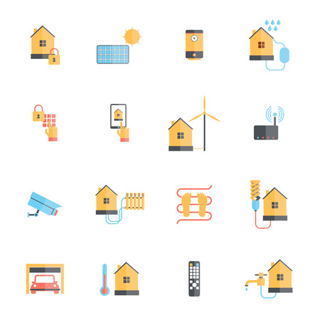 Smart home digital monitoring system icon flat set isolated vector illustration Vector