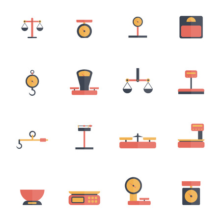 scale icon: Scales luggage hook foot weight icon flat set isolated vector illustration Illustration
